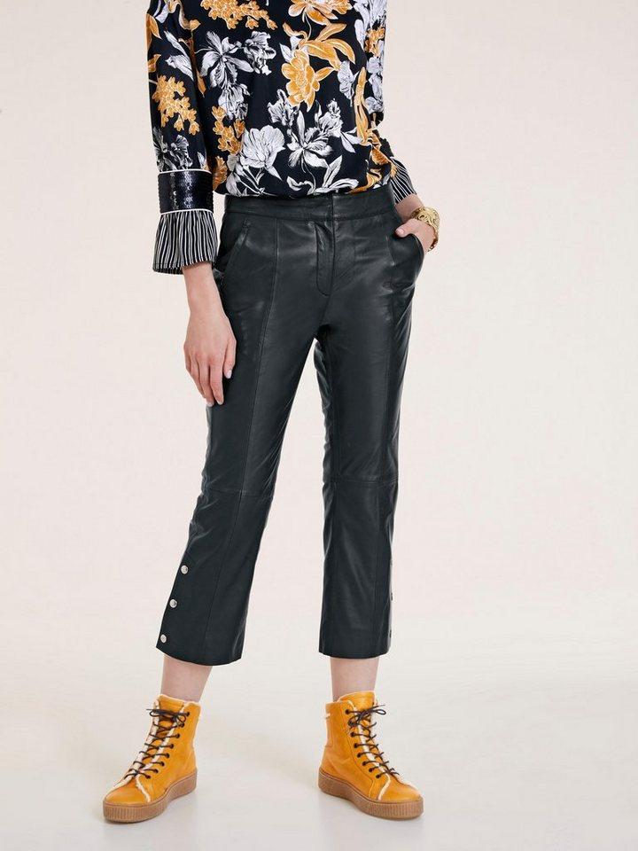 Damen heine  STYLE Lederhose Mit Druckknöpfen am Hosenbeinabschluss schwarz | 04251297616016