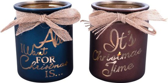 Home affaire Teelichthalter »Christmas« (Set, 2 Stück)