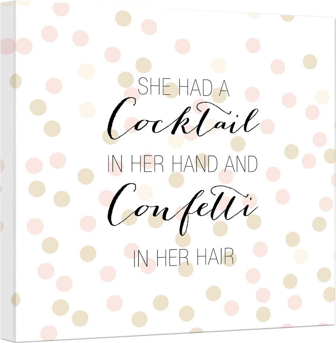Leinwandbild »Confetti & Cream - Cocktail in her Hand and Confetti in hair« 50/2/50 cm