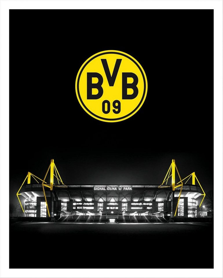 poster bvb signal iduna park bei nacht emblem fu ball. Black Bedroom Furniture Sets. Home Design Ideas