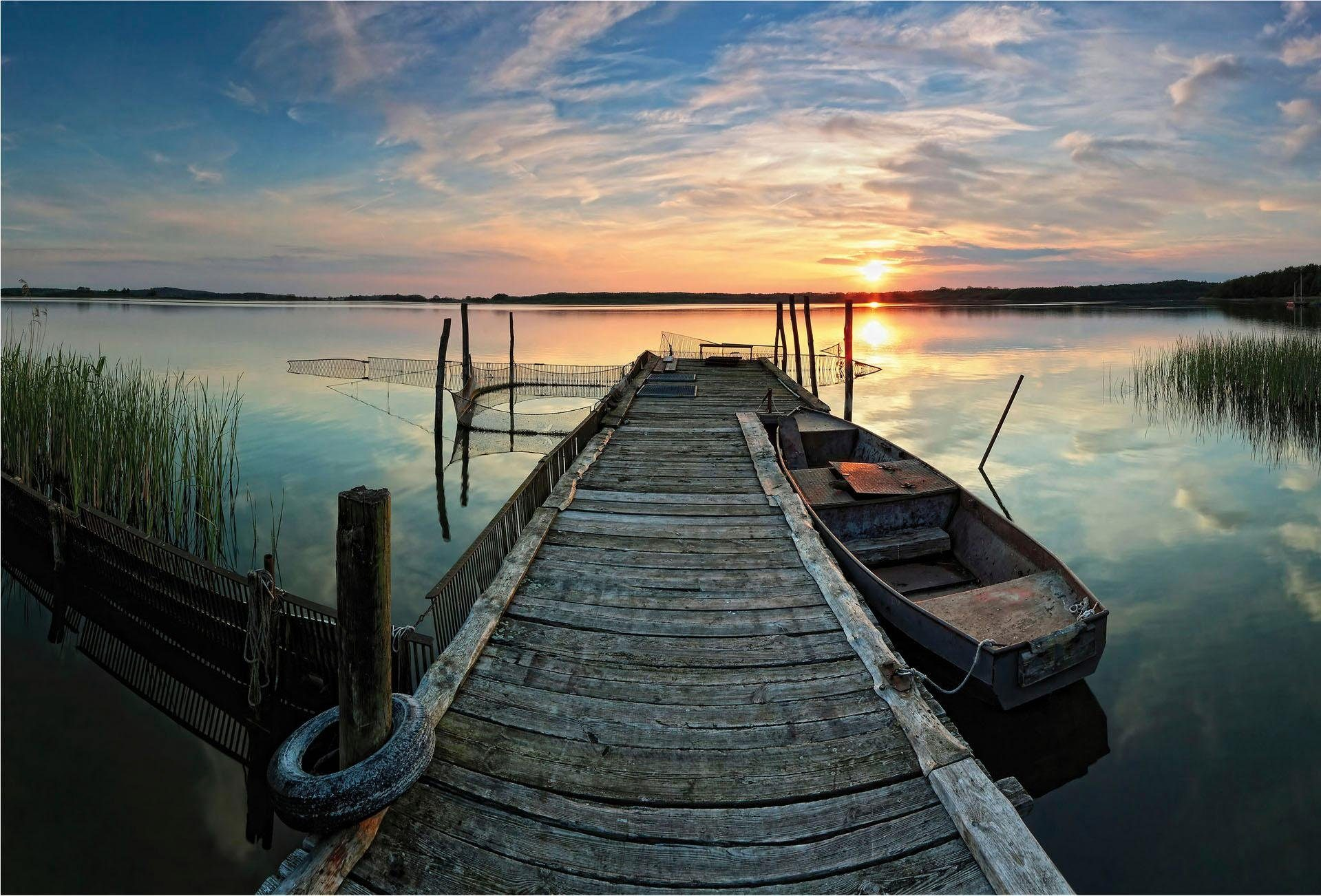 Fototapete »Sunset at the lake« 384/260 cm