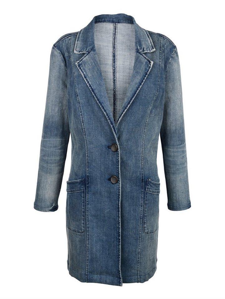 Damen Alba Moda Lange Jeansjacke in modischer Waschung blau | 04055715329928