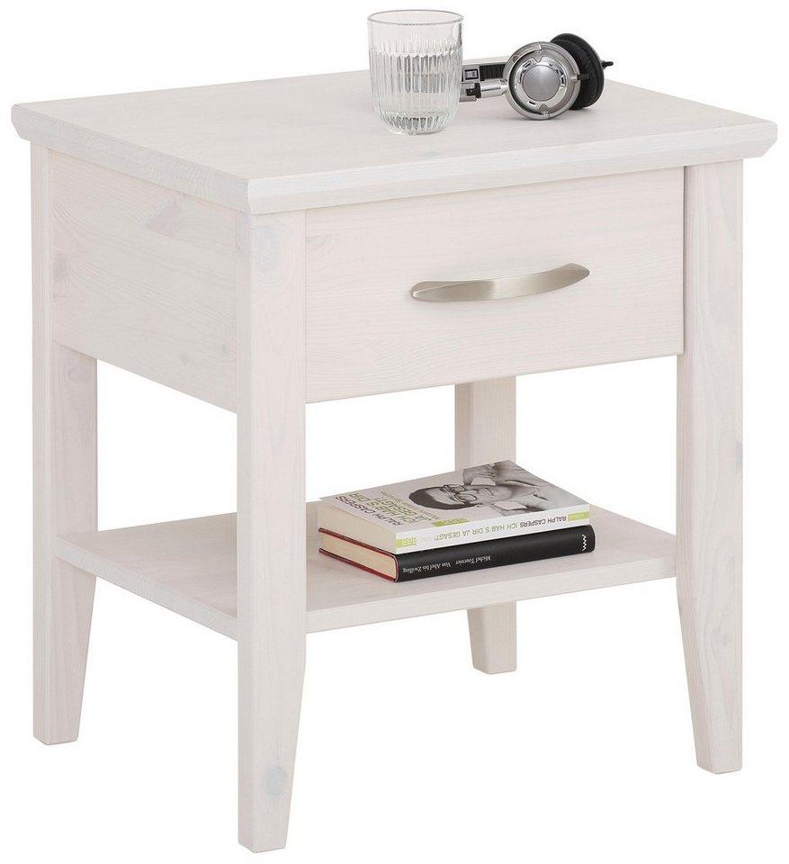 Nachttisch BILLE weiß Nachtkonsole Nachtkommode Beistelltisch Nako