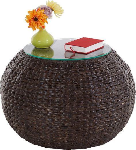 Home affaire Beistelltisch »Cedarville«, aus geflochtenem Wasserhyazinthengeflecht, mit einer Glastischplatte, Durchmesser 60 cm