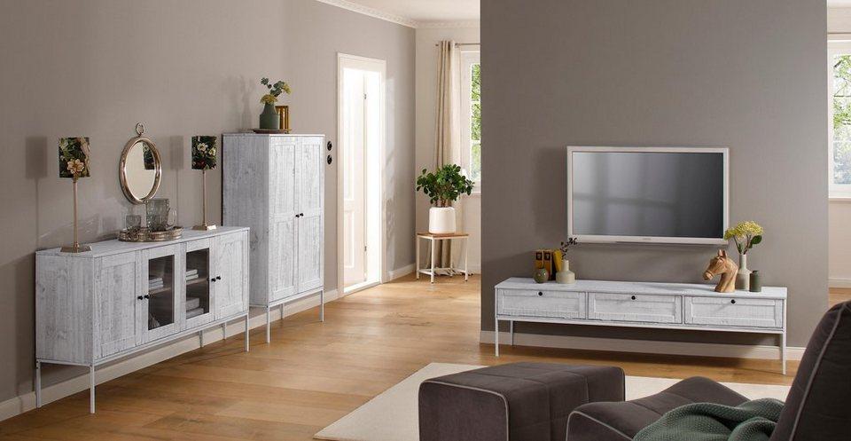 home affaire sideboard freya mit 2 holzt ren und 2 glast ren metallgriffen aus massivholz. Black Bedroom Furniture Sets. Home Design Ideas