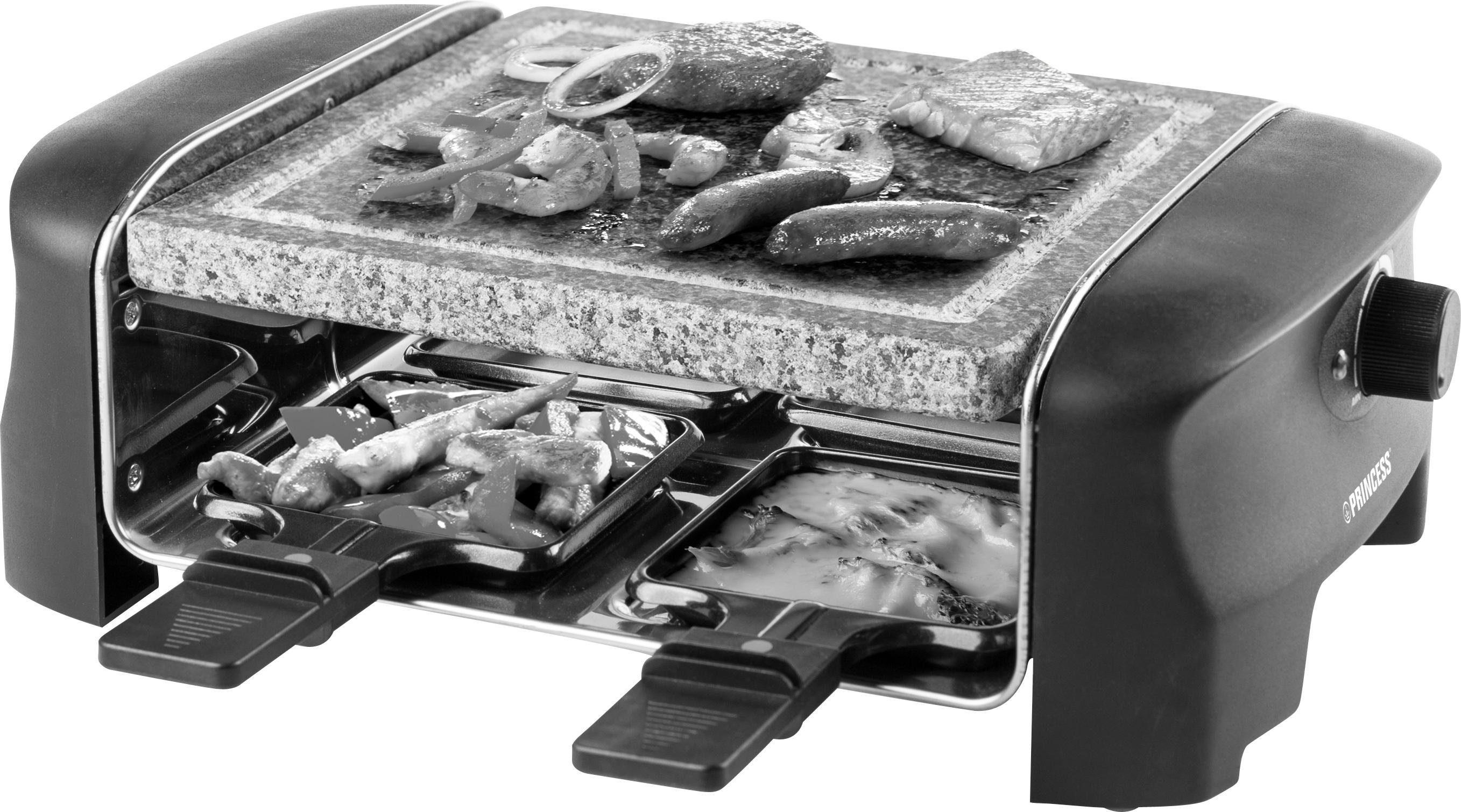 PRINCESS Raclette 4Personen-Stein-Grill - 162810, 4 Raclettepfännchen, 600 W