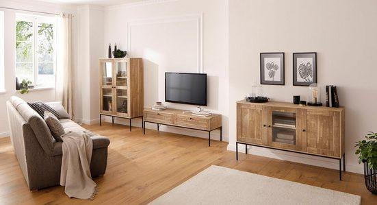 Home Affaire Vitrine »Freya«, mit 2 Glastüren und quadratische Röhrenbeinen, aus Massivholz, Breite 91 cm