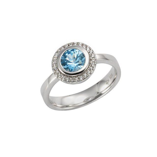 CELESTA Ring »925/- Sterling Silber Zirkonia & sy. Blautopas« | Schmuck > Ringe > Silberringe | CELESTA
