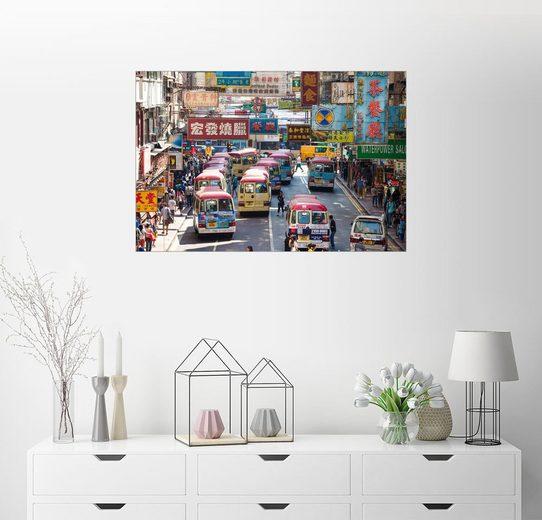Posterlounge Wandbild - Matteo Colombo »Belebte Straße in Mong Kok, Hong Kong«