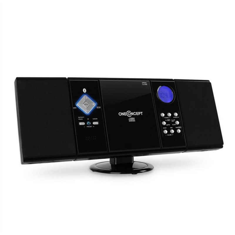 ONECONCEPT »V-12-BT Bluetooth-Stereoanlage USB SD CD MP3 AUX UKW schwarz« Stereoanlage (UKW Radio, 0 W)