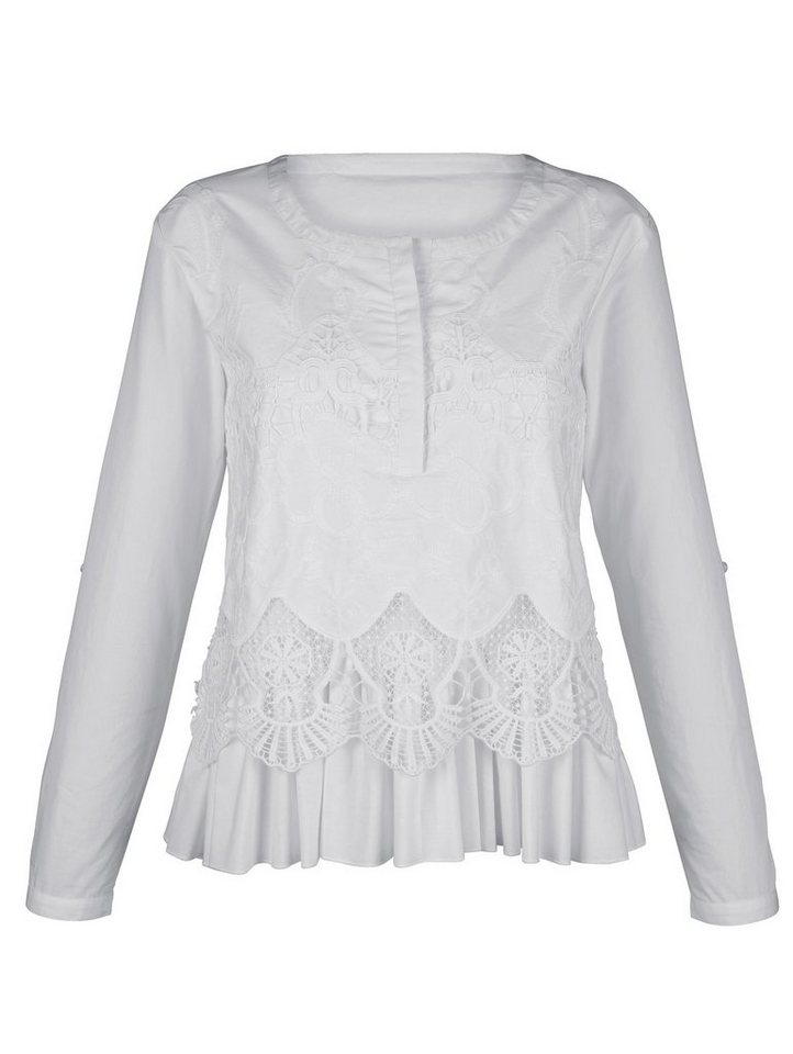 Damen Alba Moda  Tunika mit Spitzenbesatz weiß | 04055714613776