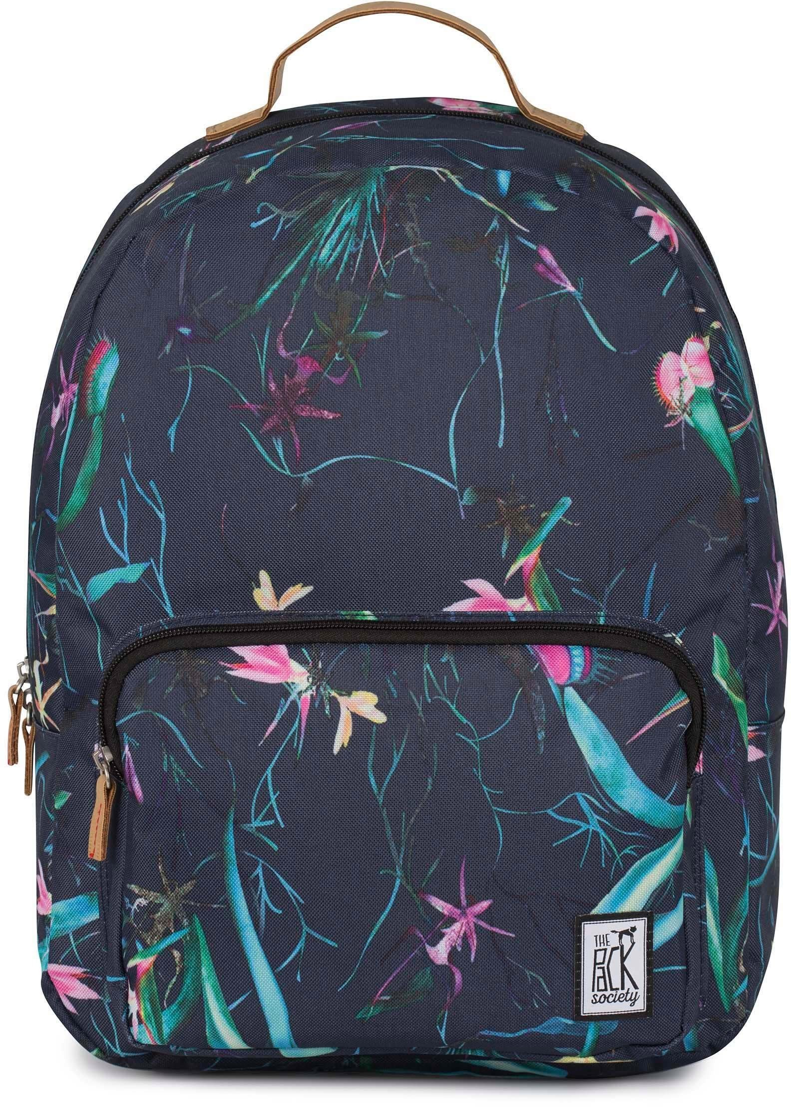 The Pack Society Rucksack mit Laptopfach, »Classic Backpack, dark blue jungle allover«