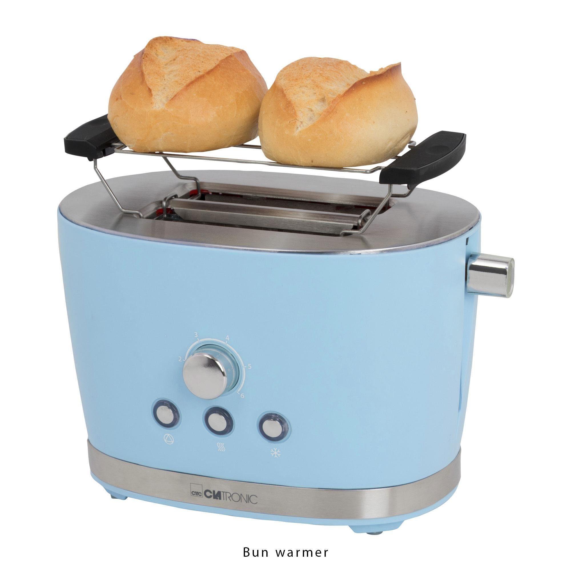 CLATRONIC Toaster TA 3690 blau, 2 kurze Schlitze, für 2 Scheiben, 850 W