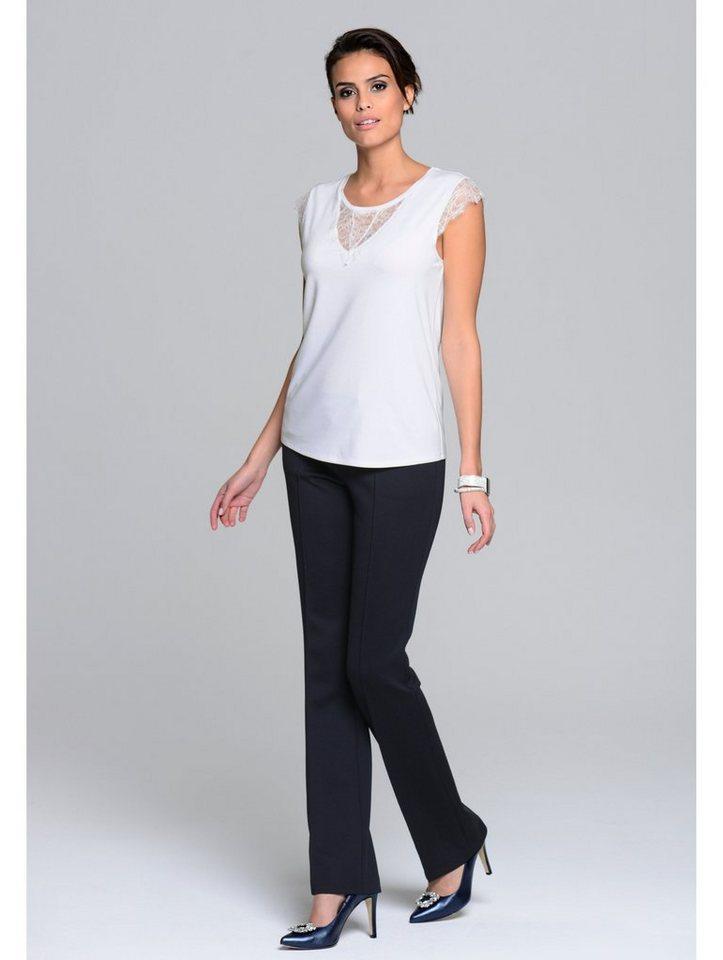 Damen Alba Moda  Top mit elegantem Spitzen-Einsatz weiß | 04055716393416