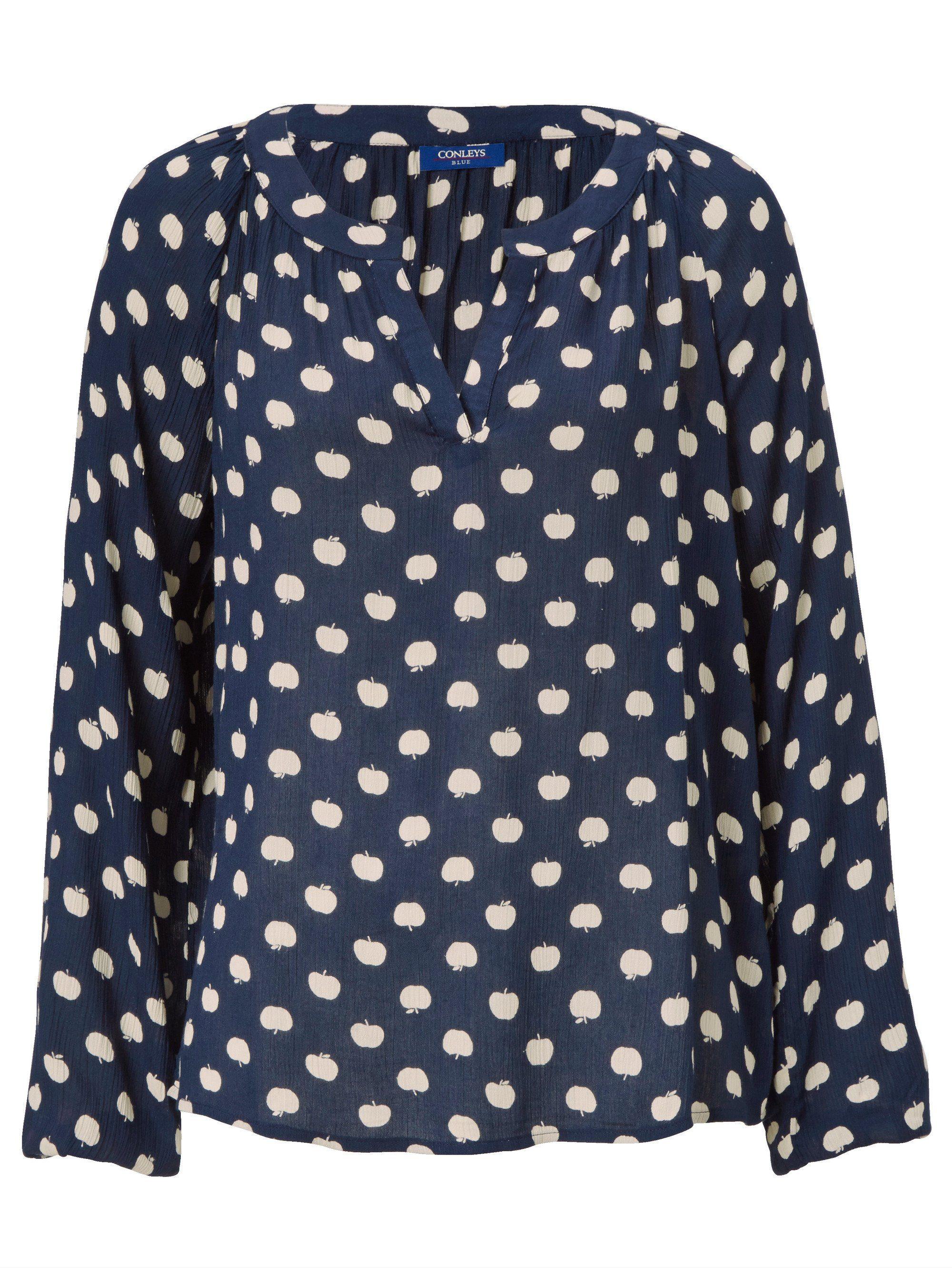 print Conleys Blue Allover Mit Kaufen Bluse Äpfel eIbEDH29WY