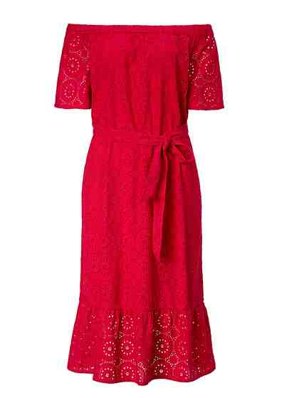 Sienna Kleid mit Lochstickerei und Gürtel