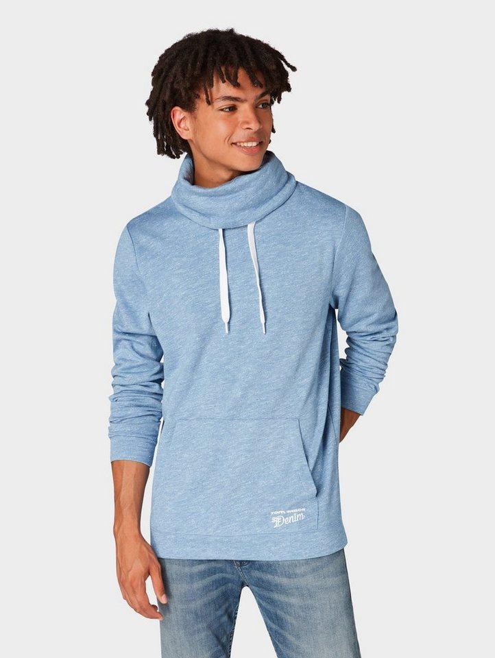 Herren TOM TAILOR Denim  Sweatshirt Snood mit Logo-Print blau | 04060868215523