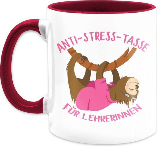 Shirtracer Tasse »Anti Stress Tasse für Lehrerinnen Faultier - Kaffeetasse Job Geschenk - Tasse zweifarbig«, Keramik, Beruf Teetasse
