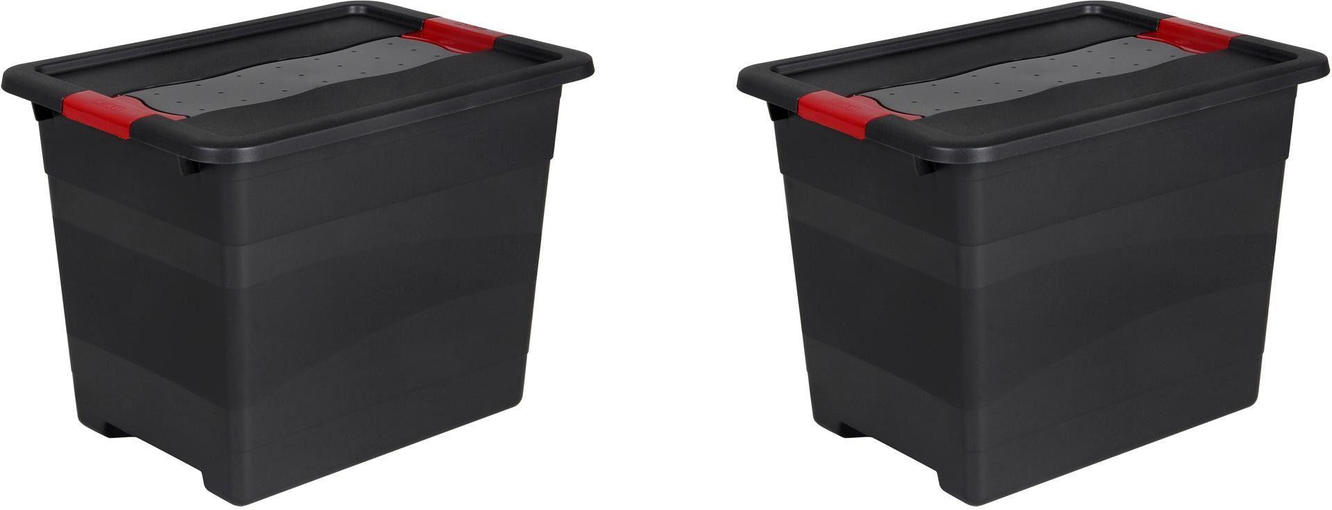 keeeper Transportbehälter mit Deckel, 39,5 x 39,5 x 30 cm, 24 Liter, 2er Set, »eckhart«