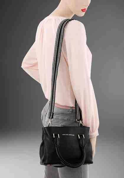 GUIDO MARIA KRETSCHMER Henkeltasche, aus Leder mit textilem, zweifarbigem Umhängeriemen
