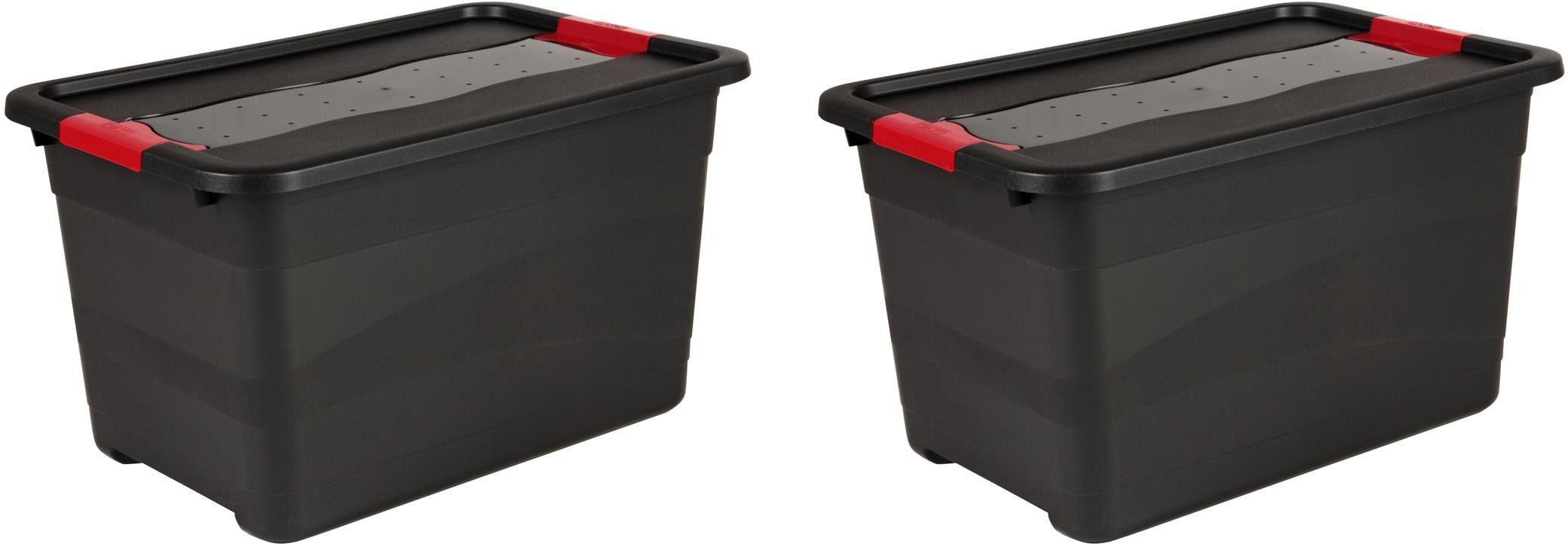 keeeper Transportbehälter mit Deckel, 59,5 x 39,5 x 34 cm, 52 Liter, 2er Set, »eckhart«