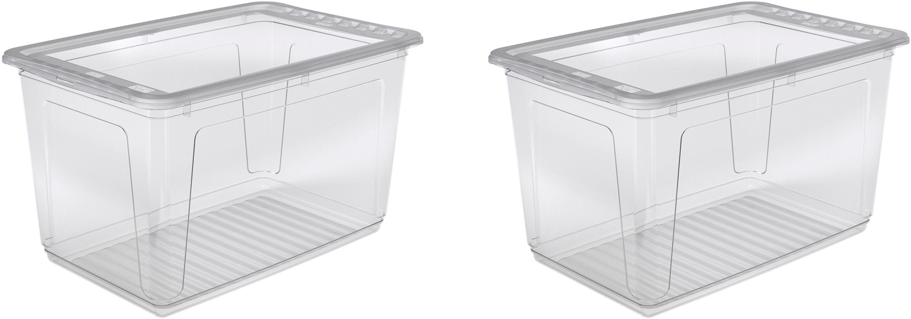 keeeper Clearbox mit Belüftungsfunktion, 59 x 39 x 35 cm, 52 Liter, 2er Set, »bea«