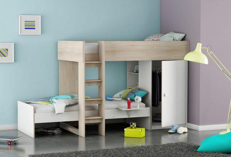 Demeyere Etagen-Kombi-Bett mit integriertem Kleiderschrank und Regalen
