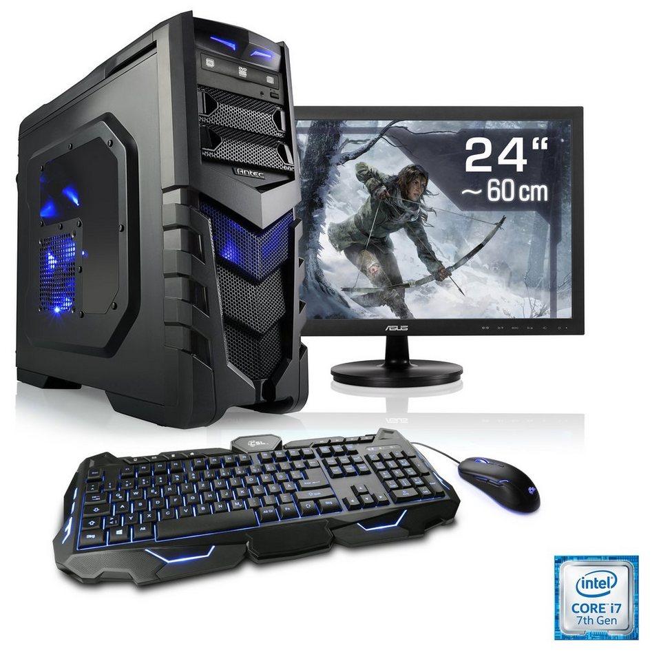 csl gaming pc set i7 7700 geforce gtx 1060 16 gb ram 24 tft speed t7594 windows 10. Black Bedroom Furniture Sets. Home Design Ideas