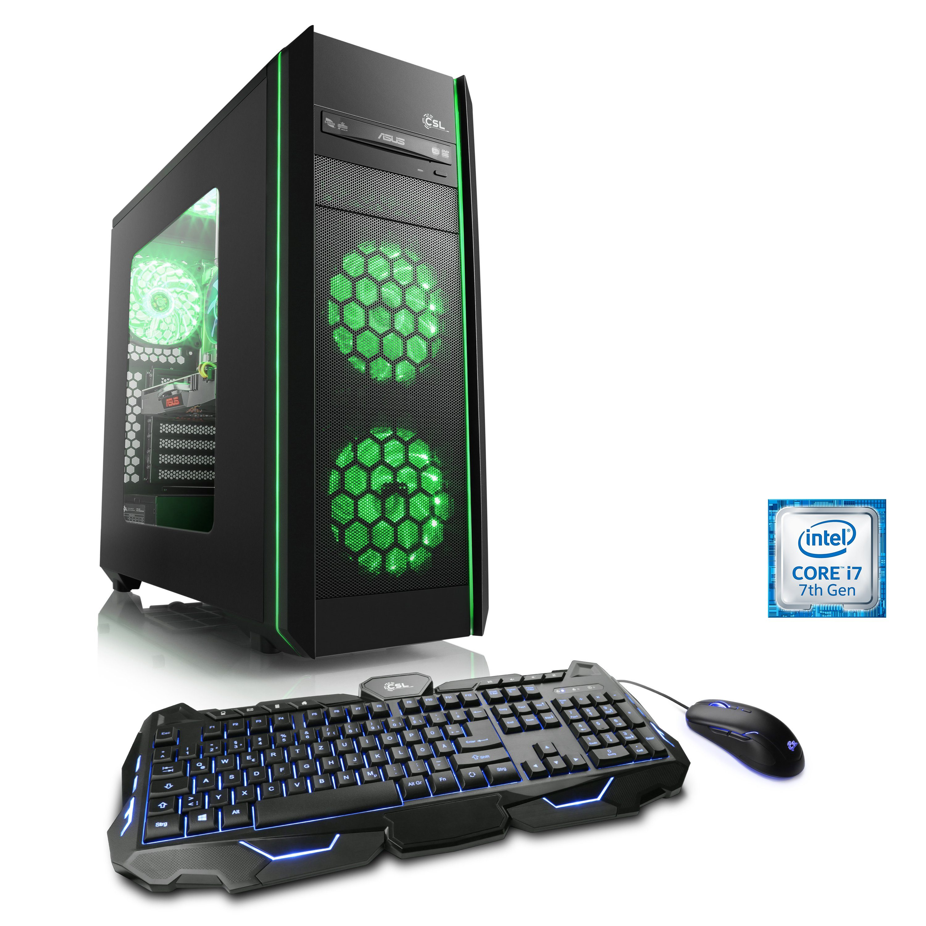 CSL Extreme Gaming PC | i7-7700K | GTX 1080 | 16GB DDR4 | 240GB SSD »Speed T7665 Windows 10 Home«