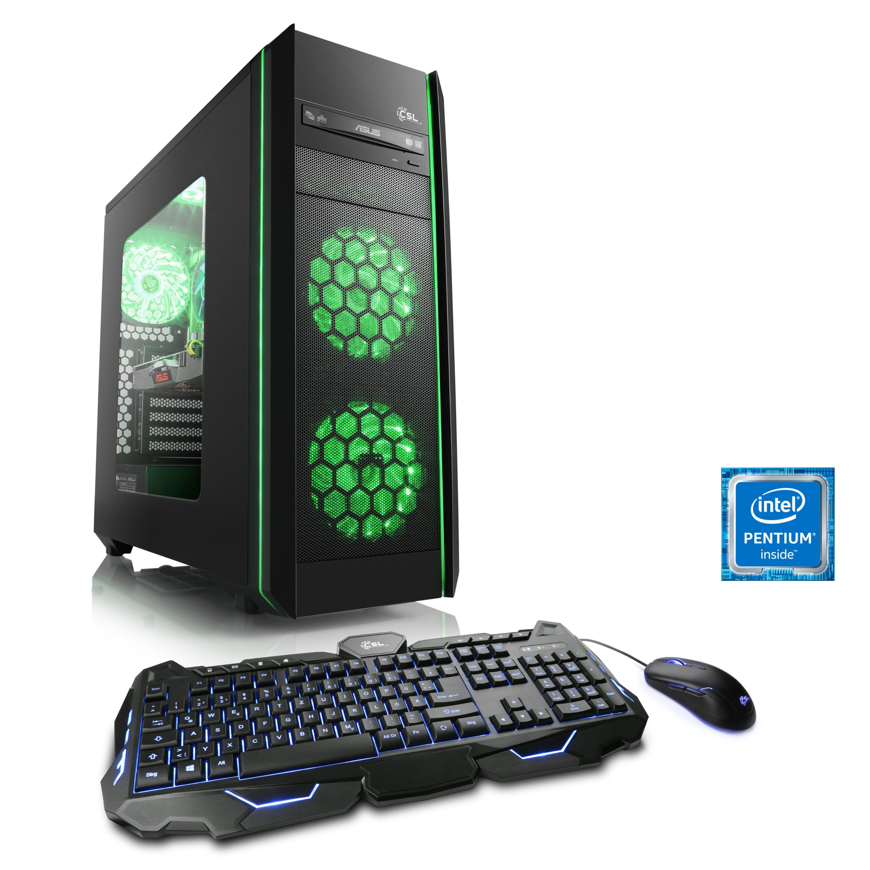 CSL Gaming PC | Pentium G4560 | GeForce GTX 1050 Ti | 8 GB DDR4 RAM »Speed T1816 Windows 10 Home«