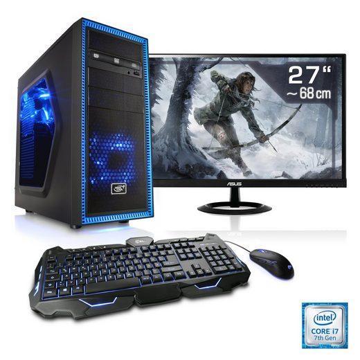 "CSL Gaming PC Set i7-7700K, GTX 1070, 16 GB RAM, SSD, 27"" TFT »Speed T9763 Windows 10 Home«"