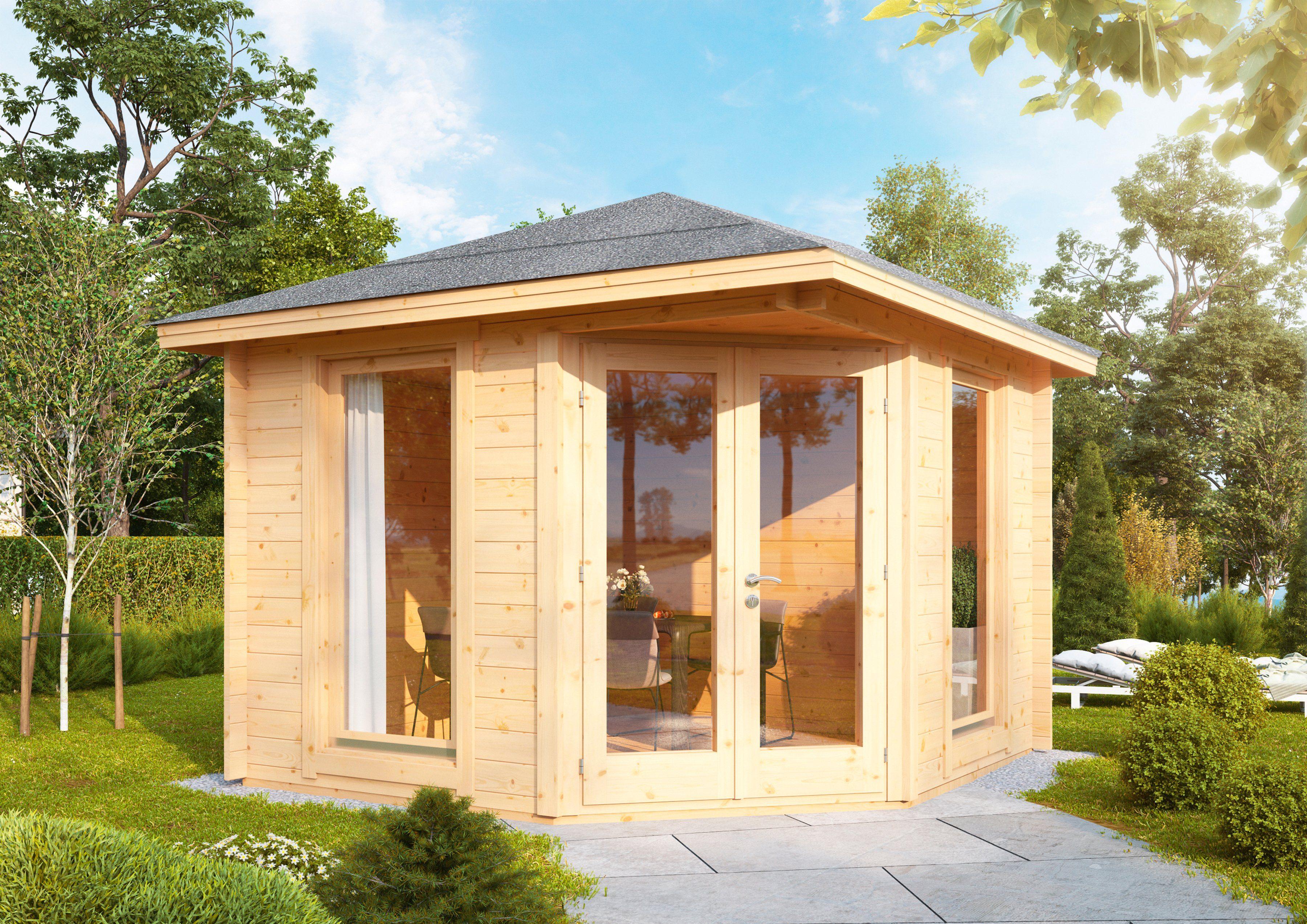 WOLFF FINNHAUS Gartenhaus »Katrin 58-A«, BxT: 352x352 cm, inkl. Fußboden