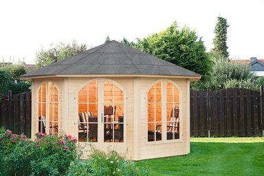 WOLFF FINNHAUS Holzpavillon »Lugano 42-A«, BxT: 393x393 cm