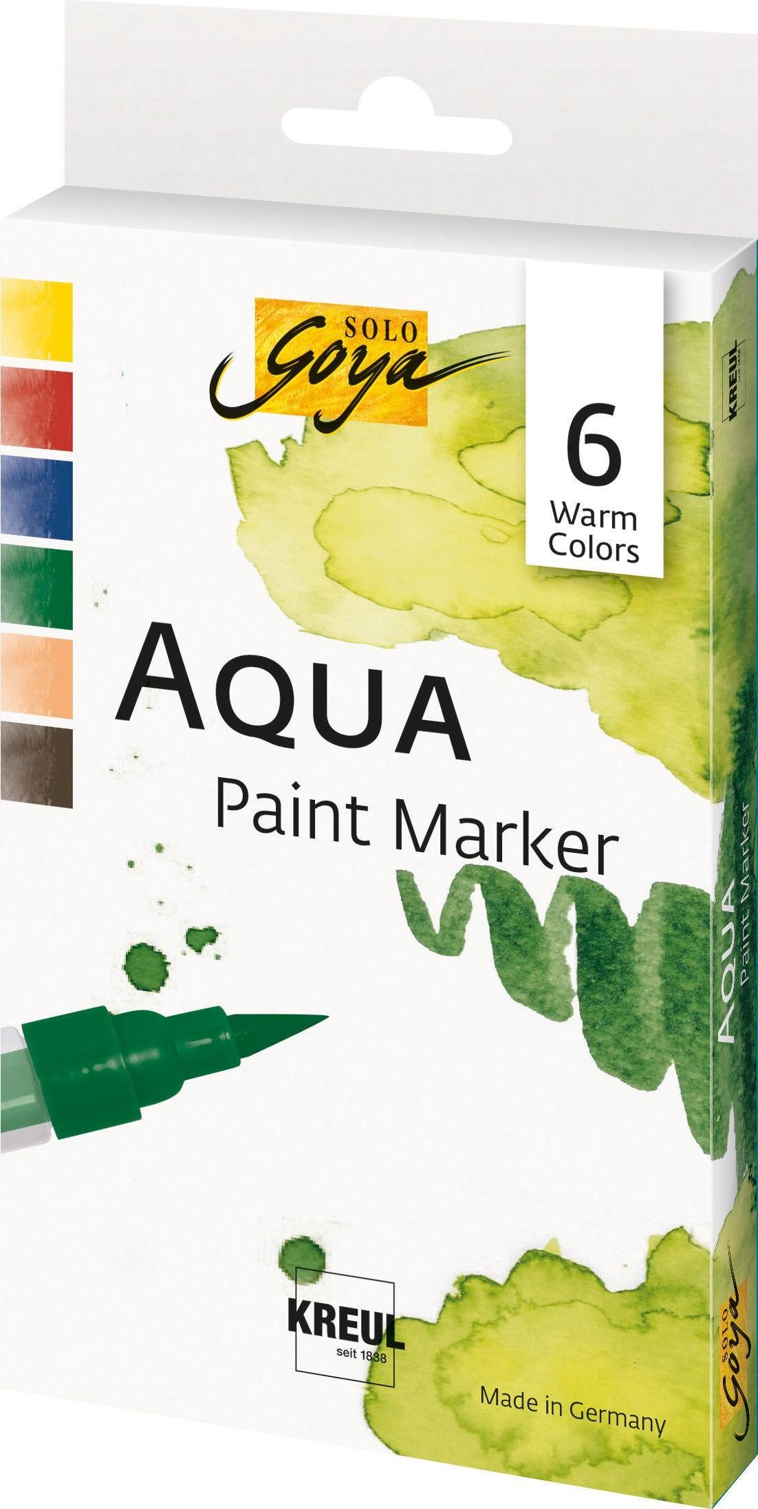KREUL Aquarellfarben-Set, »SOLO GOYA Aqua Paint Marker Warm Colors«