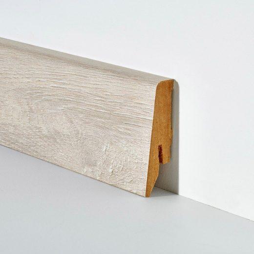 BODENMEISTER Set: Sockelleiste »Eiche weiß«, 2er-Pack, Höhe 5,8 cm