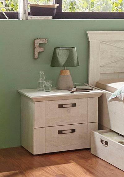 FORTE Nachttisch-Set »Kashmir« (2-tlg.) | Schlafzimmer > Nachttische | Weiß | Mdf | FORTE