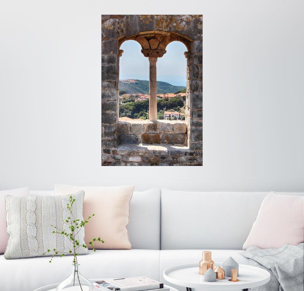 Posterlounge Wandbild – Filtergrafia Blick durch ein Fenster in der Toskana Italien bunt,mehrfarbig | 04053829884777