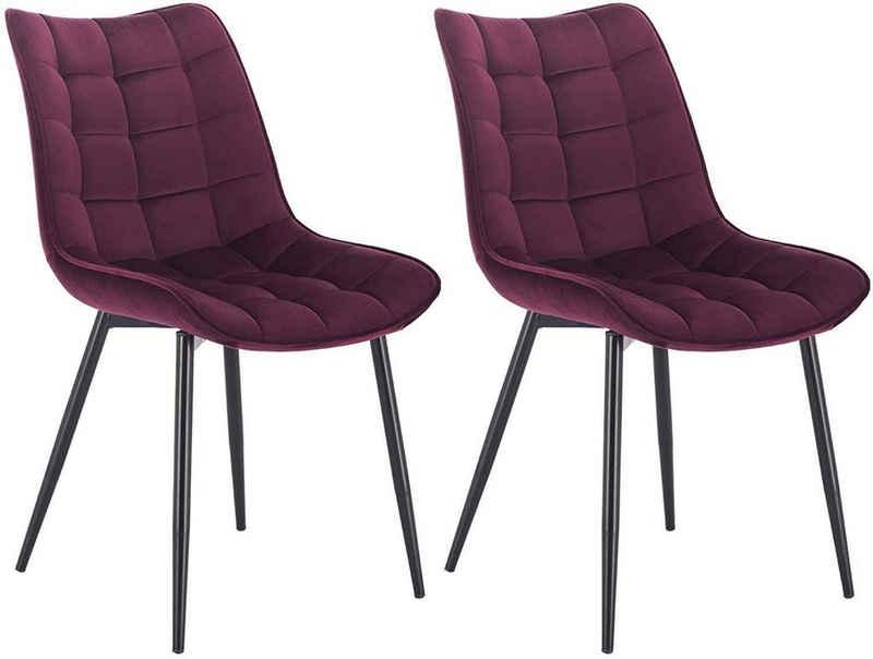 Woltu Esszimmerstuhl »BH142« (2er-Set), Wohnzimmerstuhl Sessel mit Rückenlehne, Sitzfläche aus Samt, Metallbeine