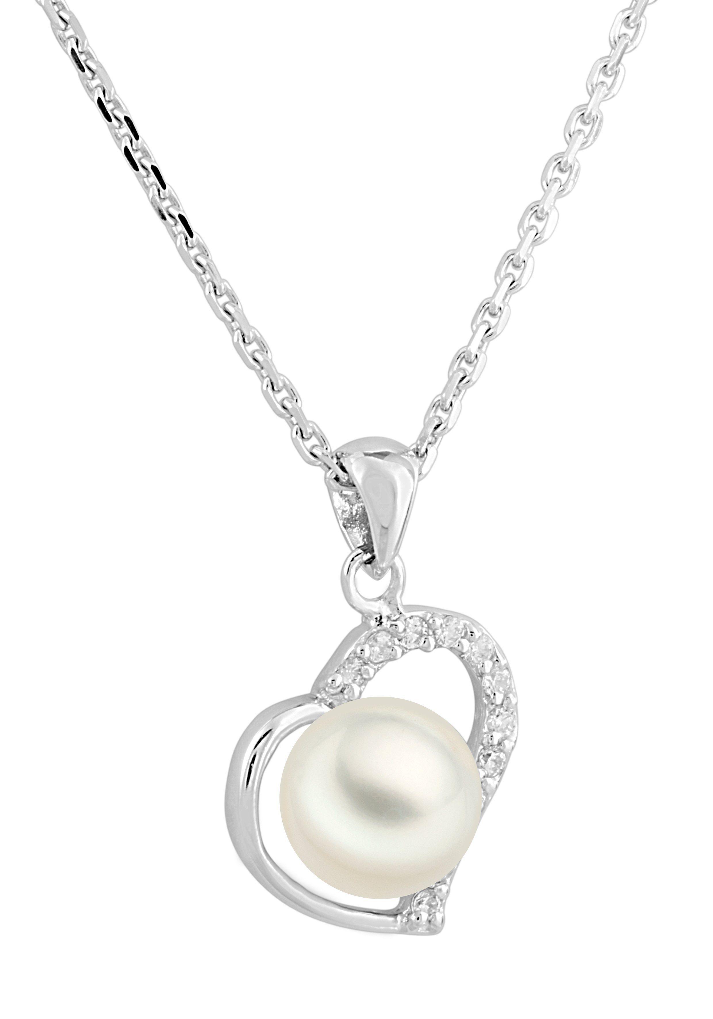 Bella Donna Jewels Silberkette mit Herz-Anhänger und Perle