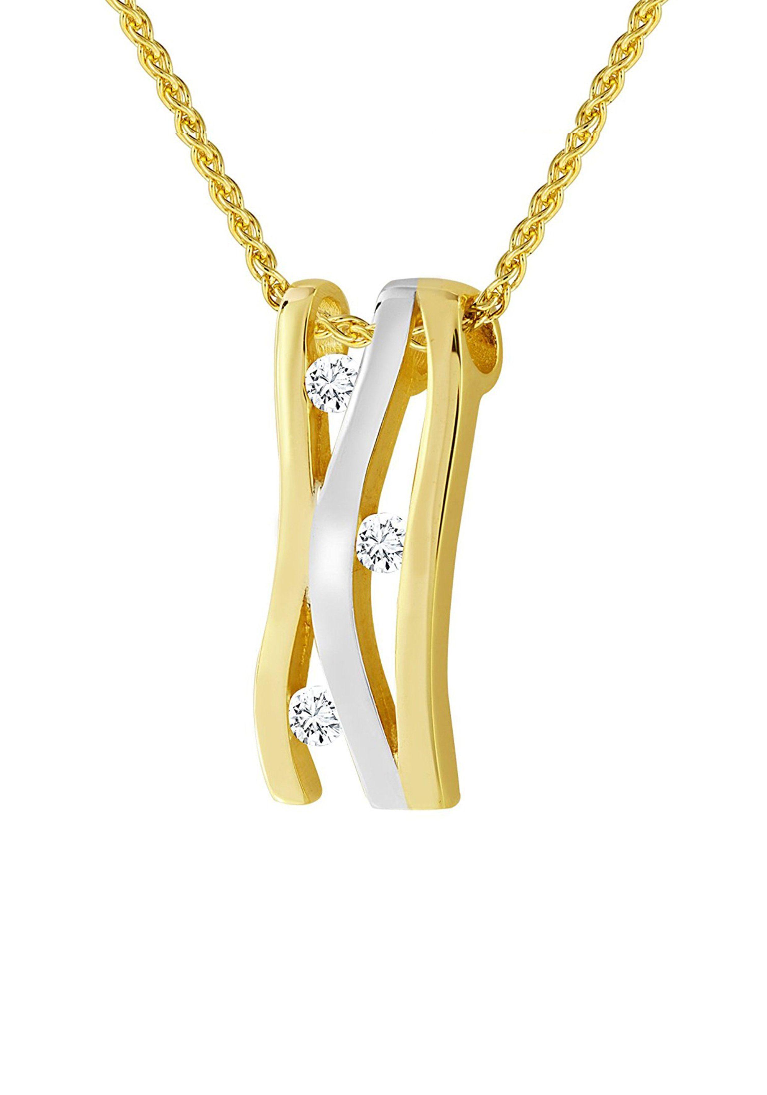 Diamond Line Goldkette mit hochwertigem Diamant-Besatz