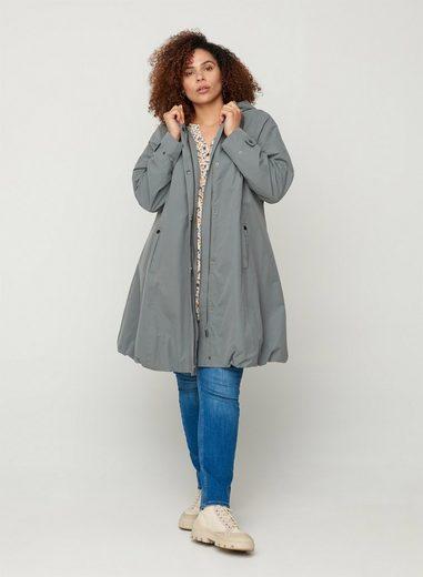 Zizzi Langjacke Große Größen Damen Jacke mit Taschen, Kapuze, Reißverschluss und Knöpfe