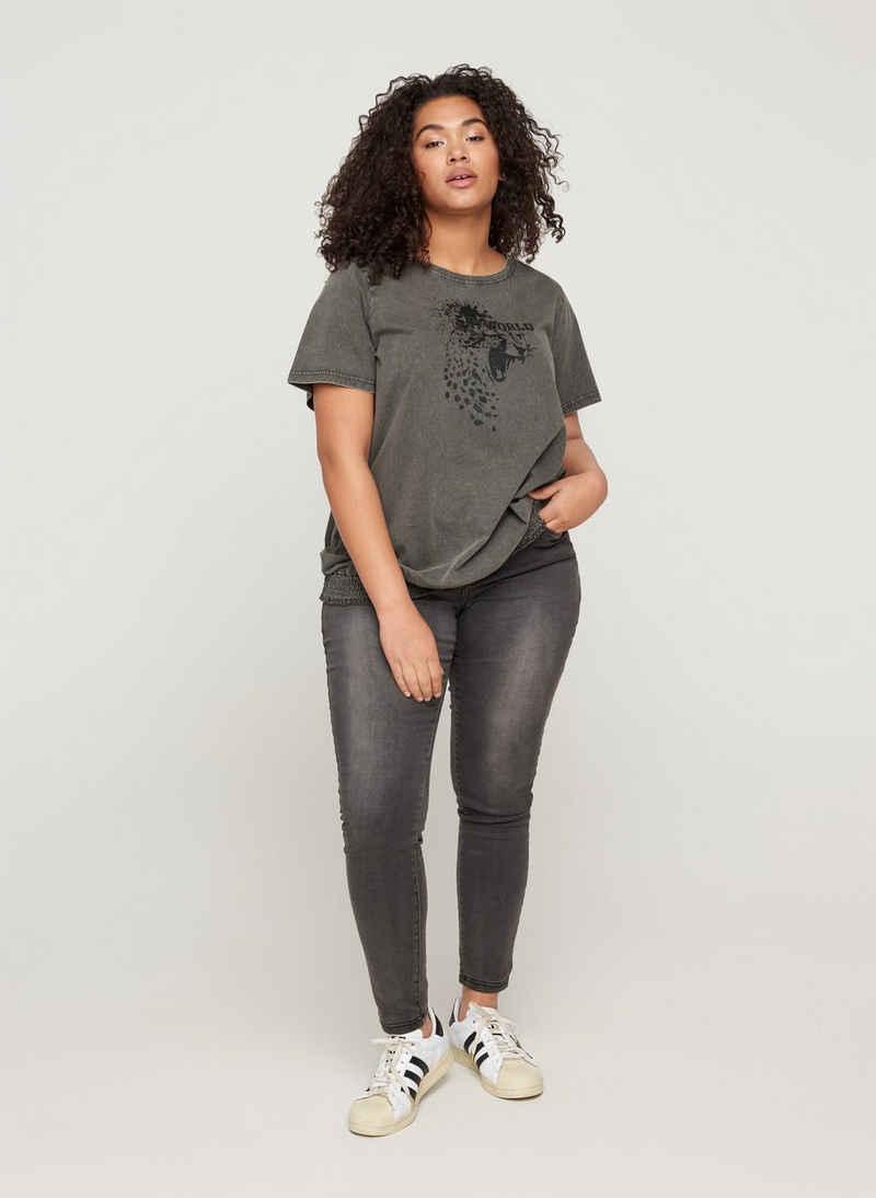 Zizzi T-Shirt Große Größen Damen T-Shirt aus Baumwolle mit Smock und Acid Wash
