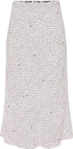 Tommy Jeans Sommerrock »TJW Printed Midi Slip Skirt« mit kleinem Tupfendessin & Tommy Jeans Monogramm allover