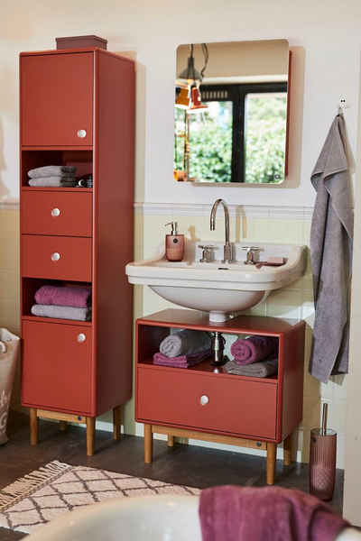 TOM TAILOR Hochschrank »COLOR BATH« mit 2 Türen & 2 Schubladen, mit Push-to-Open, mit Füßen in Eiche geölt, Breite 40 cm
