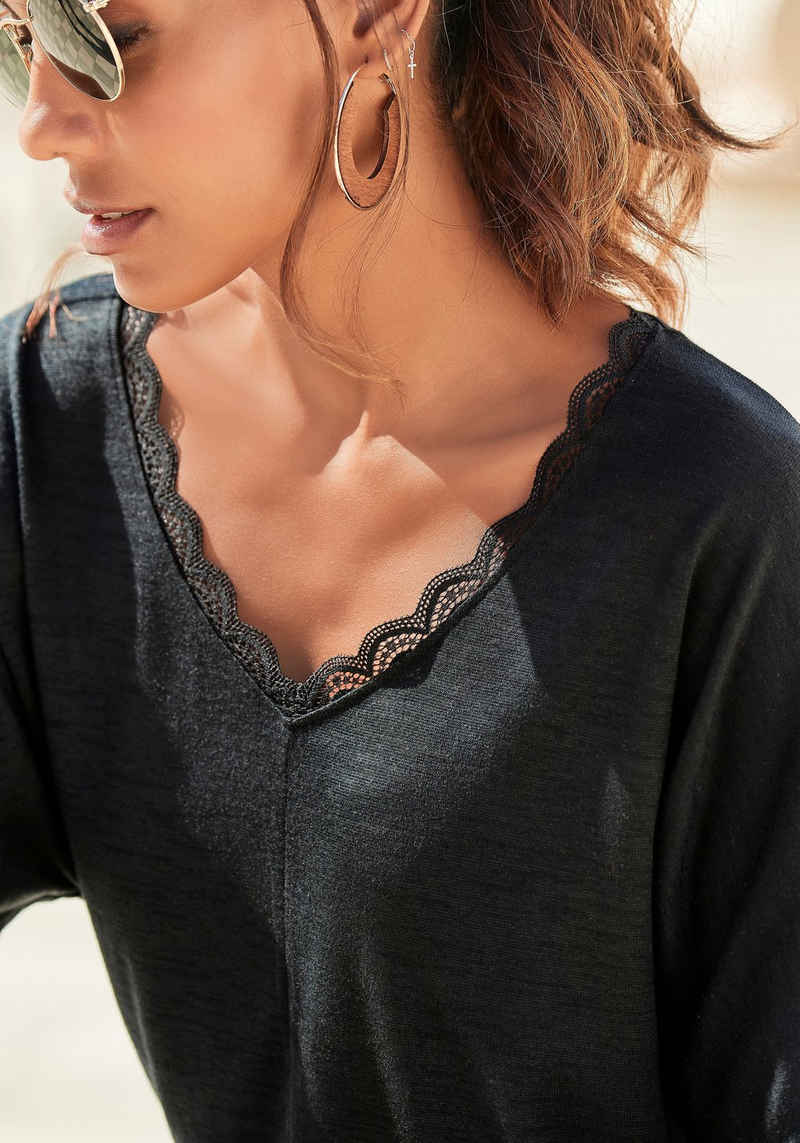 LASCANA 3/4-Arm-Shirt mit zarter Spitze am Ausschnitt