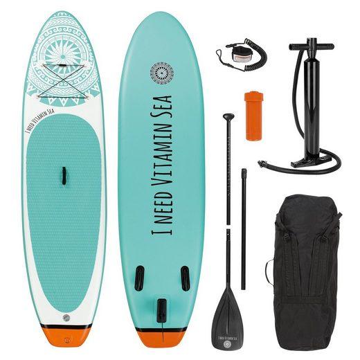 EASYmaxx Inflatable SUP-Board, inkl. Paddle und Zubehör 300 cm