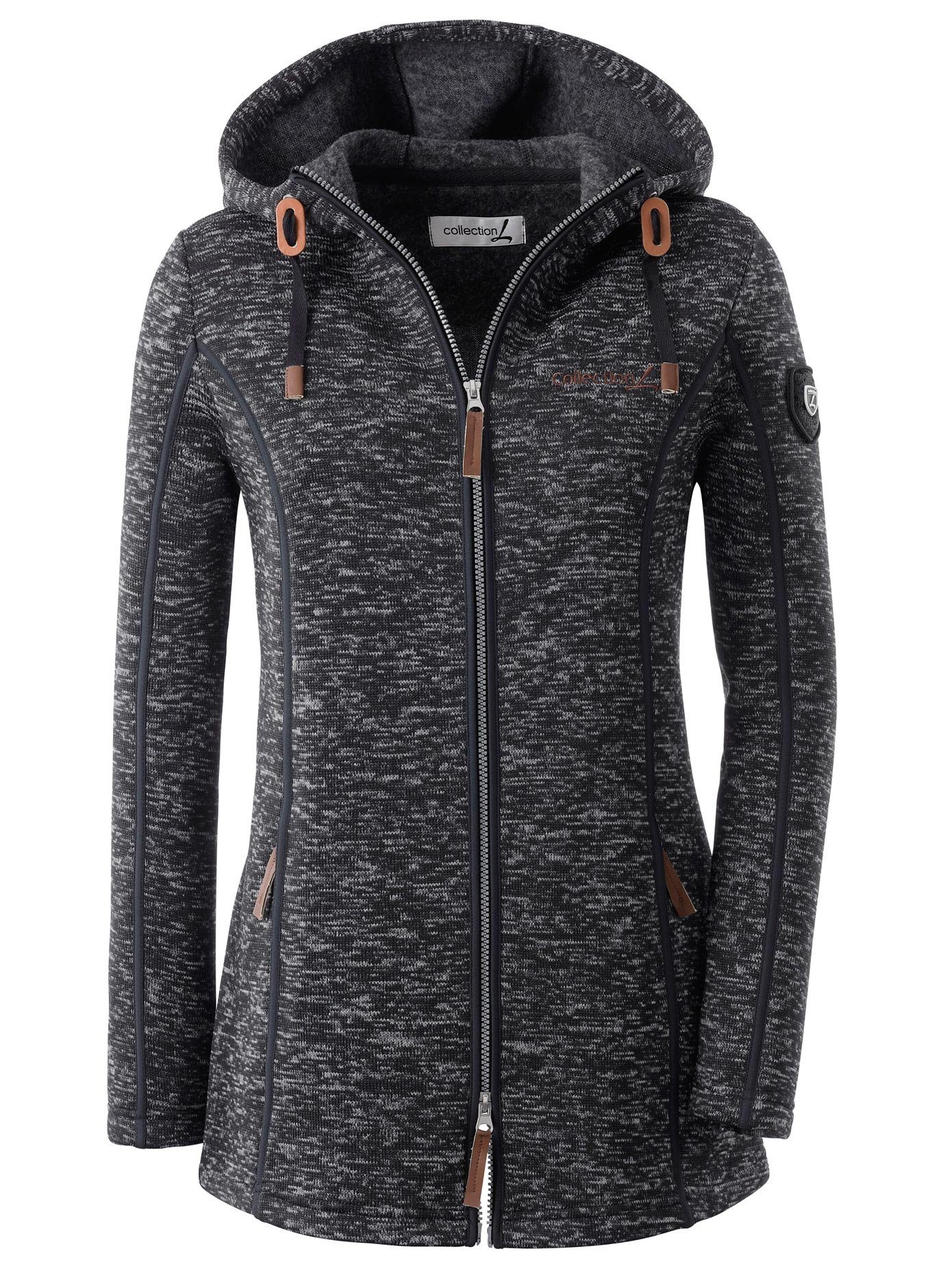 casual looks jacke mit kapuze in weiss