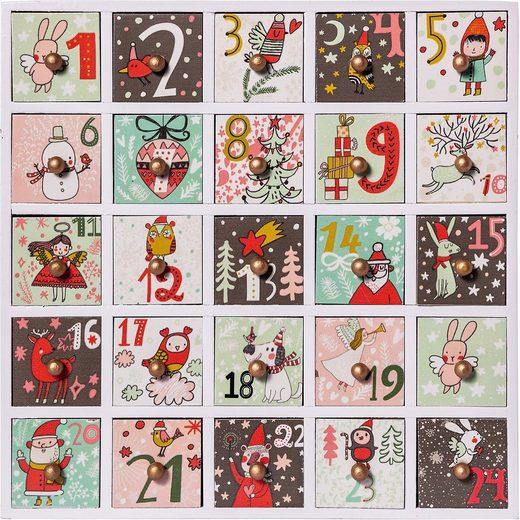 Hotex Wandkalender Adventskalender aus Holz mit Schubladen 2018