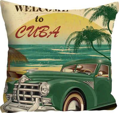 Kissenhülle »Welcome to Cuba«, queence (1 Stück), mit Schriftzug und Auto