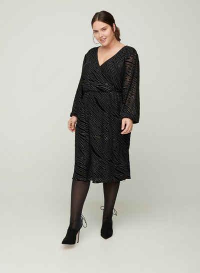 Zizzi Partykleid Große Größen Damen Langarm Kleid mit Glitzer, Muster und V-Ausschnitt